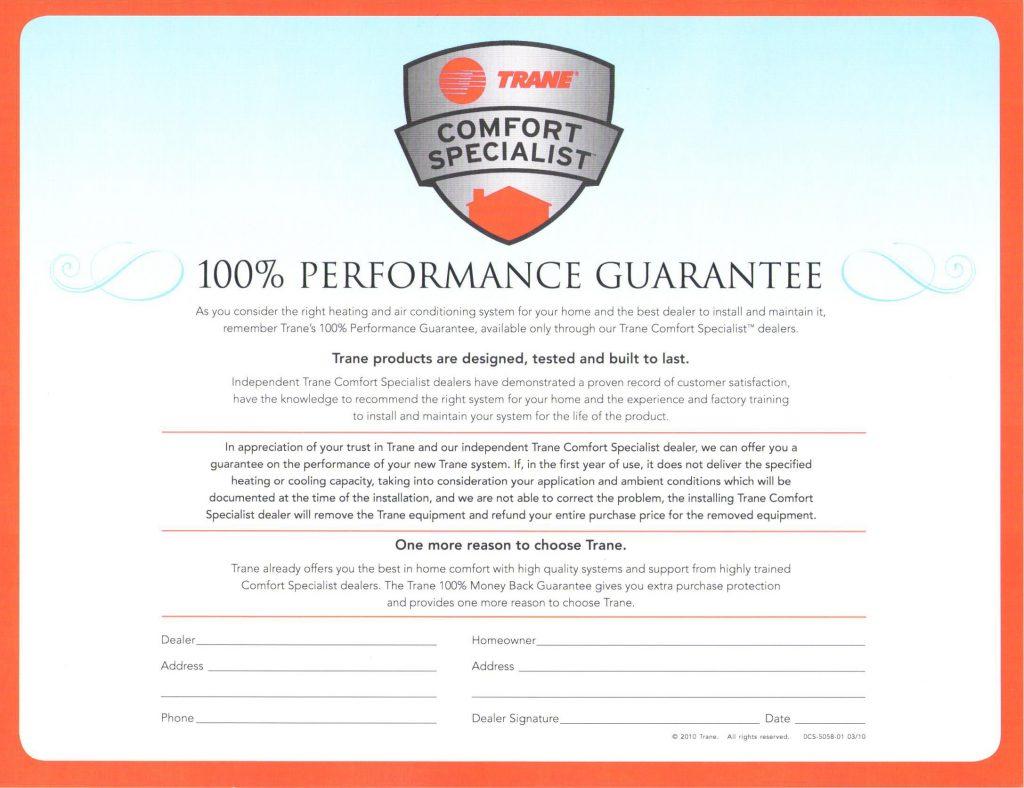 trane performance guarantee